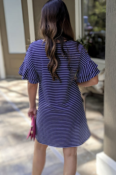 Summers Like This Striped Dress - Navy