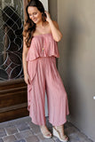 Summer Adventures Strapless Jumpsuit - Dusty Pink