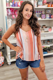Summertime Daydreams Striped Top - Blush