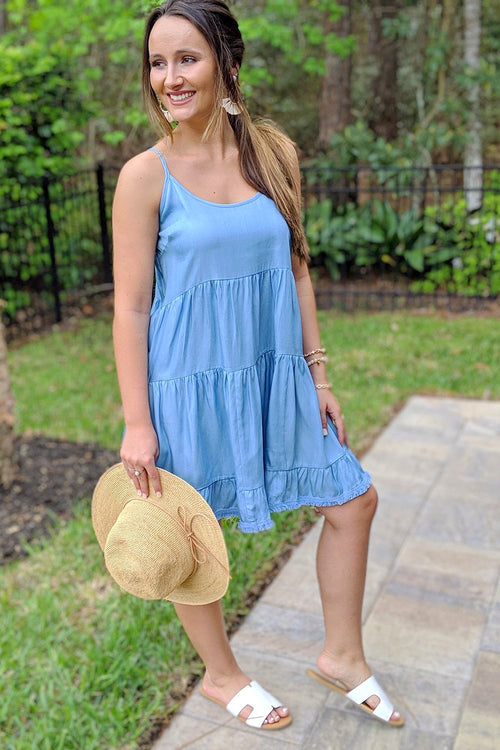 Sunnier Days Tencel Dress - Light Denim