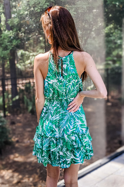 Sunny Tropics Leaf Print Halter Tiered Dress - Green