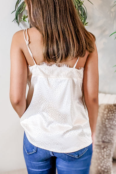 Sweet Innocence Cheetah Print Lace Trim Cami Top - Cream