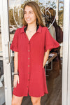 Sweet Intentions Button Down Collared Shirt Dress - Burgundy