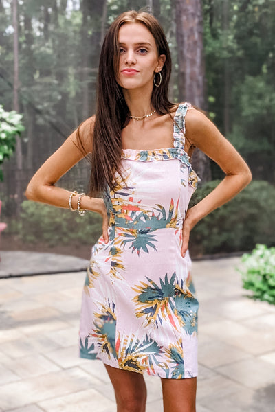 Sweet Oasis Tropical Print Linen Dress - Pink Sage