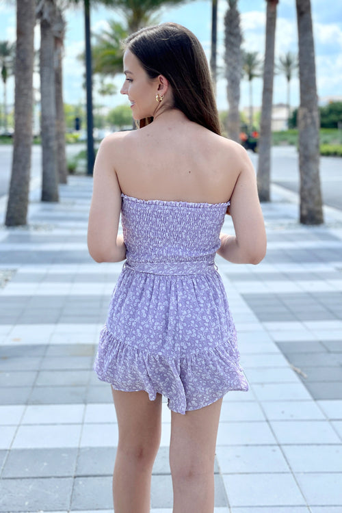 Sweet On You Floral Print Strapless Romper - Misty Lilac