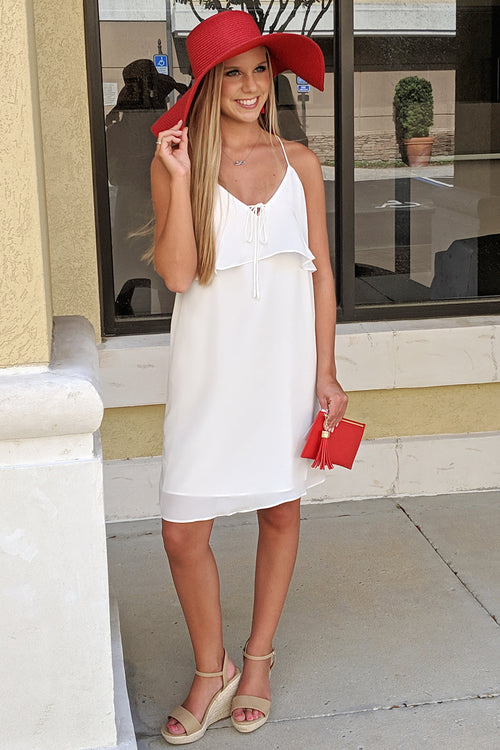 Sweet Beginnings Sleeveless Dress - Off White