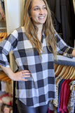 Sweet on Plaid Checker Print Top - Black/Ivory