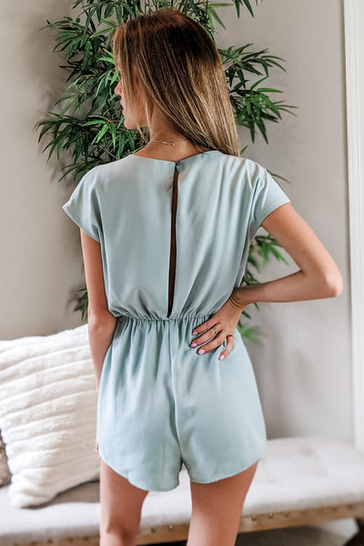 Sweet as Sugar Drop Shoulder Romper - Mint