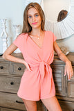 Sweet as Sugar Drop Shoulder Romper - Rose