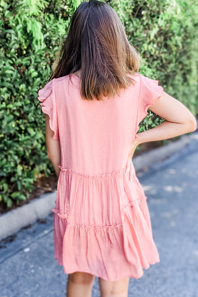 Sweeter Love Pleated Babydoll Flutter Dress - Shell Pink