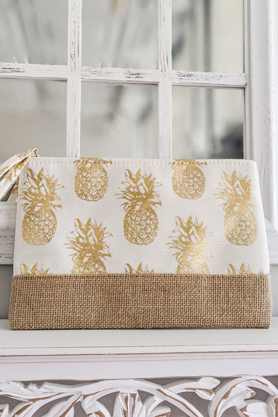 Sweeter Tropics Pineapple Print Clutch - White
