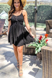 Sweetly Tied Ruffle Dress - Black