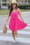 Sweetly Tied Ruffle Dress - Magenta