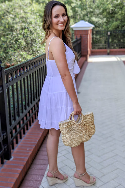 Sweetly Tied Ruffle Dress - Off White