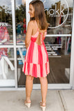 Sweet On Summer Tiered Babydoll Dress - Fuchsia/Blush