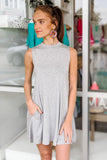 Swing My Way Sleeveless Dress - Heather Gray