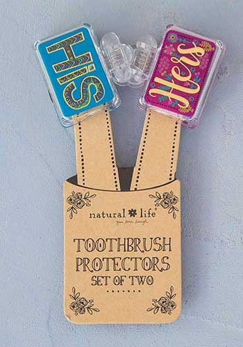 His/Hers Set of 2 Toothbrush Covers - Natural Life