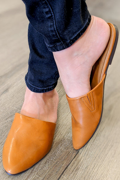 Tanya Flat Slip-On Mules - New Tan
