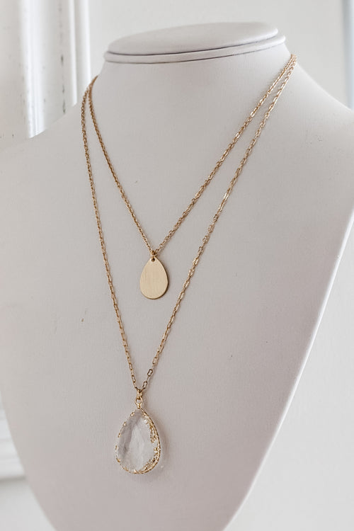Teardrop Layer Necklace - Gold