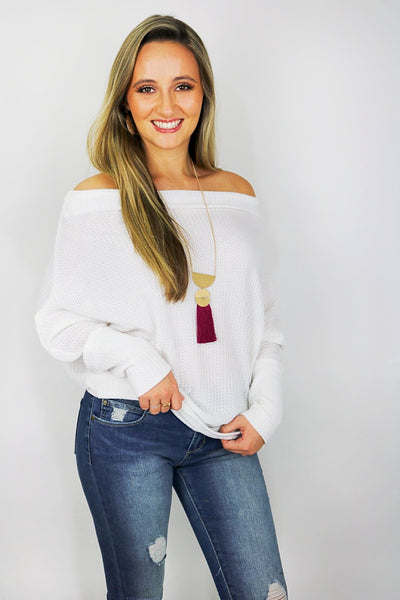 Textured Love Top - Off White