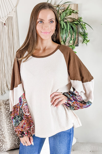 Thankful for Autumn Puff Sleeve Top - Natural
