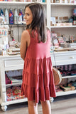 Thankful for Us Ruffle Tiered Dress - Marsala
