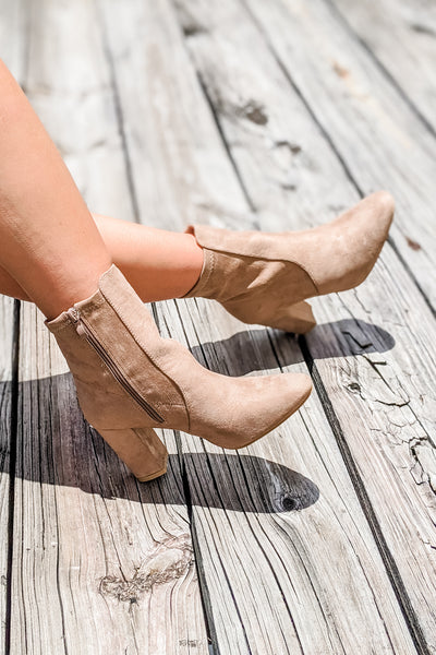 The Cora Suede Ankle Bootie - Taupe