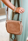 The Nadine Fold-Over Crossbody Bag - Taupe