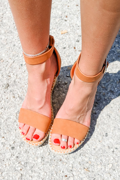 The Selma Espadrille Wedges - Peach