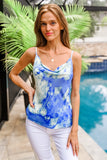 The Simple Things Satin Tie-Dye Cowl-Neck Top - Royal