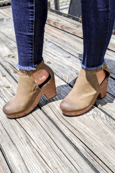 The Amber Clog Booties - Taupe