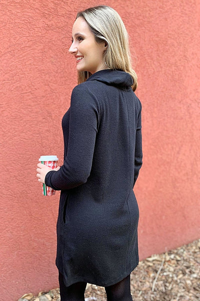 The Brushed Rib Cowl Dress - Black