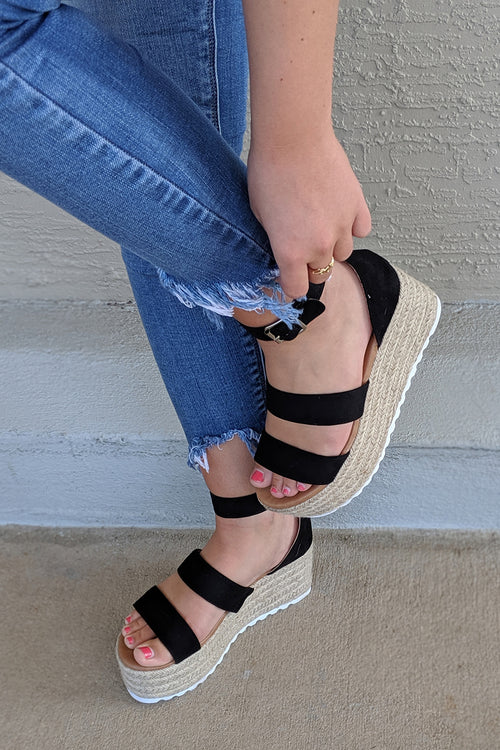 The Camilla Platform Espadrilles - Black
