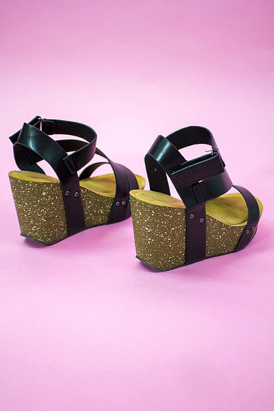 The Cassie Wedge Black