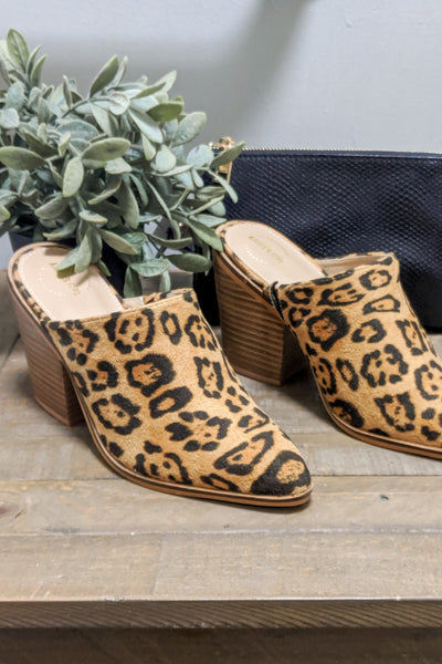 The Hazel Block Heel Mules - Natural Leopard