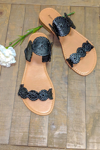 The Idalia Rosetta Sandal - Black