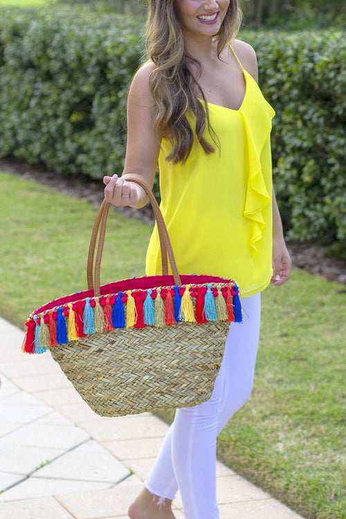 The Iris Straw Shoulder Tote - Natural