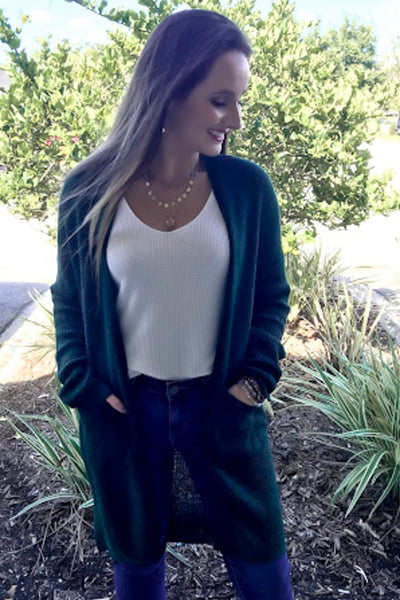 The Only Way Knit Cardigan - Hunter Green