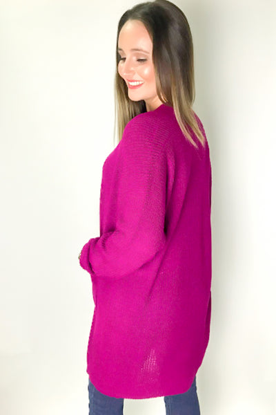 The Only Way Knit Cardigan - Magenta