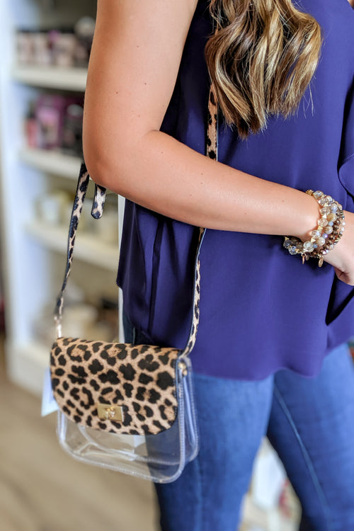 The Studded Clear Crossbody Bag - Leopard