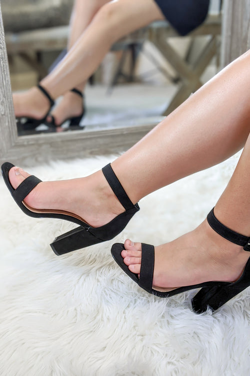 The Violet Open Toe Suede Heel - Black