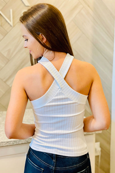 Thick Rib Cross Neck Tank - White