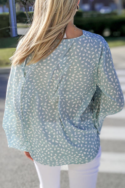 Things Change Spot Print Bubble Sleeve Top - Mint