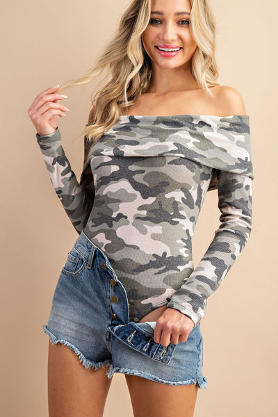 Thinking of You Camo Print Off Shoulder Bodysuit - Olive