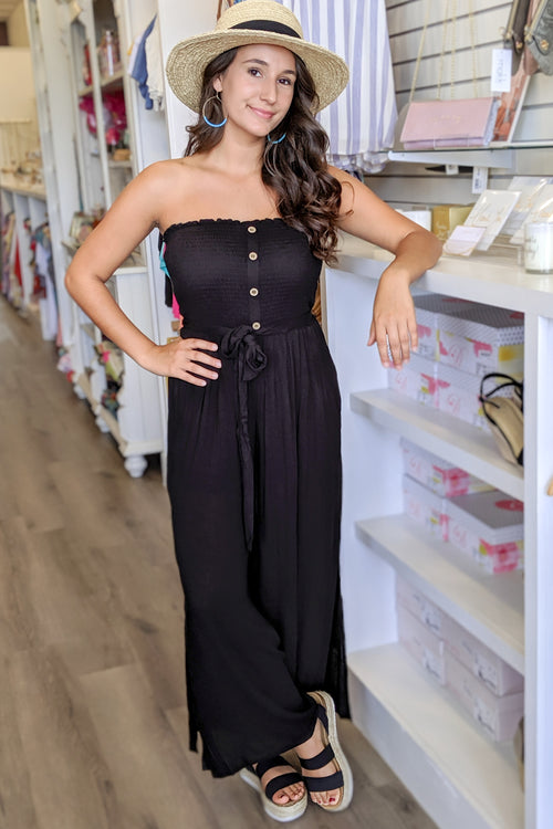 This Easy Love Strapless Jumpsuit - Black