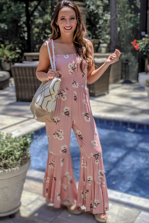 Tiered Gardens Floral Print Jumpsuit - Blush