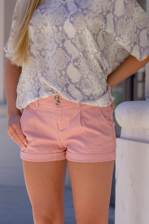 Tiffany Rolled Cuff Shorts - Mauve