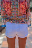 Tiffany Rolled Cuff Shorts - White
