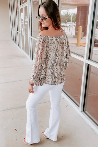 Time to Strike Snake Print Top - Brown