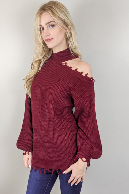 Close & Cozy Frayed Hem Sweater - Wine